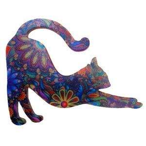 3/$30 Colorful floral cute cat broach pin